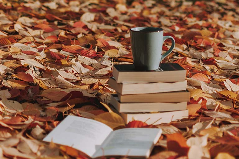 grey mug on books in fall leaves