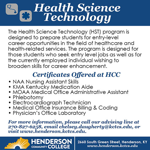 Henderson Community College is excited to announce its new program coming in Fall 2019, Health Science Technology.