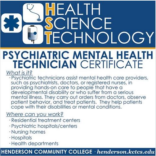 Psychiatric technicians assist mental health care providers, such as psychiatrists, doctors, or registered nurses, in providing hands-on care to people that have a developmental disability or who suffer from a serious mental illness. ... They carry out orders from doctors, observe patient behavior, and treat patients.  They help patients cope with their disabilities or mental conditions.
