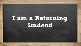 returning student text on a chalkboard
