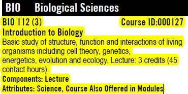 Biological Sciences catalog entry