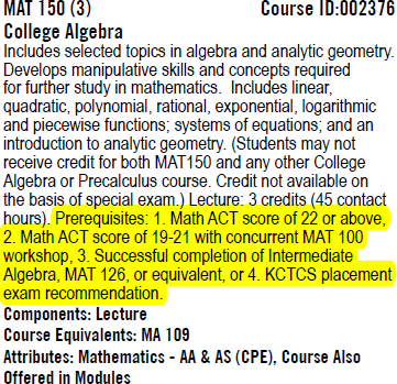 College Algebra catalog entry